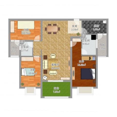 北湖之星3室1厅2卫1厨143.00㎡户型图