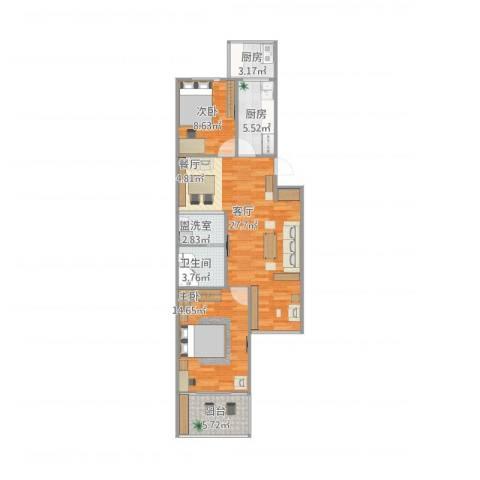 东八里庄新区104号楼2室2厅1卫2厨77.94㎡户型图