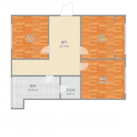 义兴园3室1厅1卫1厨114.00㎡户型图