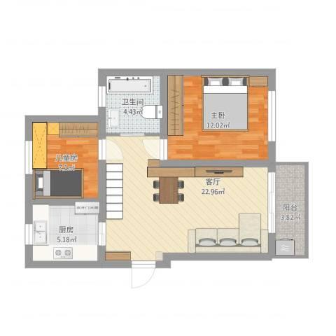 汇颂南苑2室1厅1卫1厨82.00㎡户型图