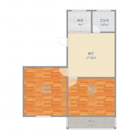 贝港南区2室1厅1卫1厨82.00㎡户型图