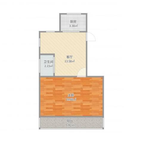 贝港南区1室1厅1卫1厨60.00㎡户型图