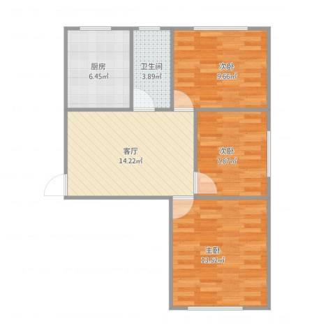 动力厂宿舍3室1厅1卫1厨75.00㎡户型图