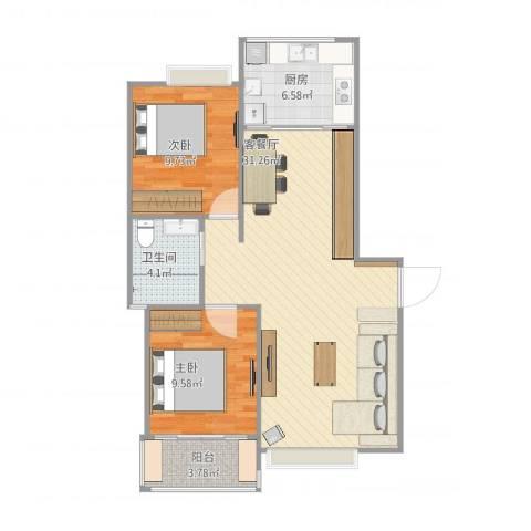 康桥半岛城中花园2室1厅1卫1厨87.00㎡户型图