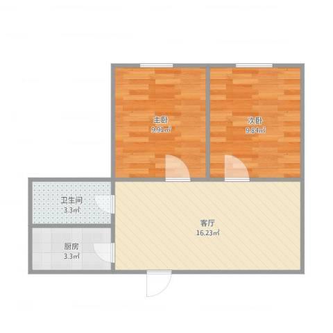 青年路社区2室1厅1卫1厨58.00㎡户型图