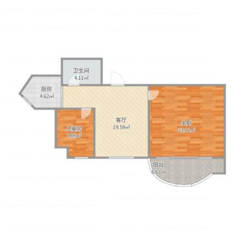丽景花城2室1厅1卫1厨88.00㎡户型图