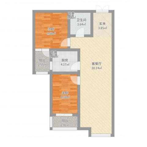 水岸茗苑2室1厅1卫1厨90.00㎡户型图