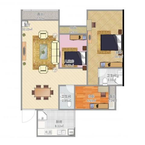 云湖花园3室1厅2卫1厨115.00㎡户型图