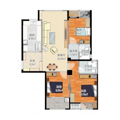 典雅花园3室2厅2卫1厨128.00㎡户型图