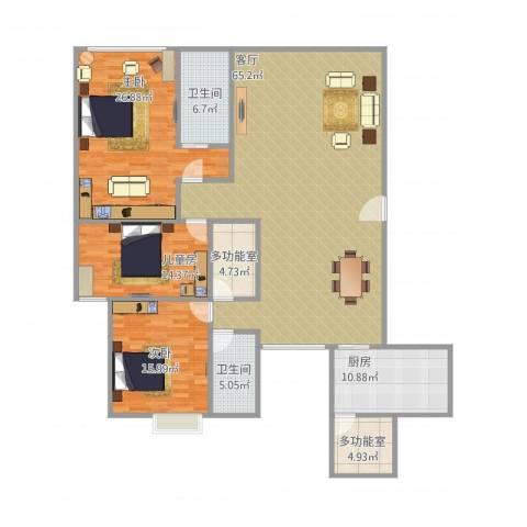 东田翠湖湾3室1厅2卫1厨211.00㎡户型图