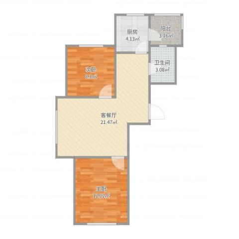 万隆广场2室1厅1卫1厨71.00㎡户型图