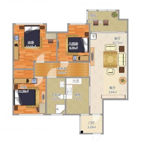 盐城金辉城3室1厅1卫1厨117.00㎡户型图