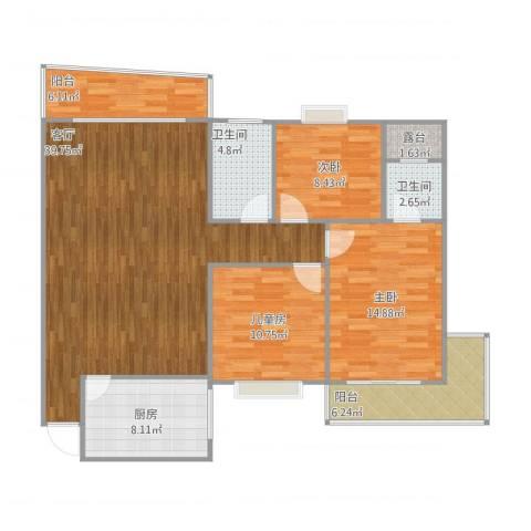 金冠花园3室1厅2卫1厨139.00㎡户型图