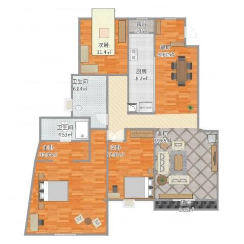 小平岛3室1厅2卫1厨165.00㎡户型图