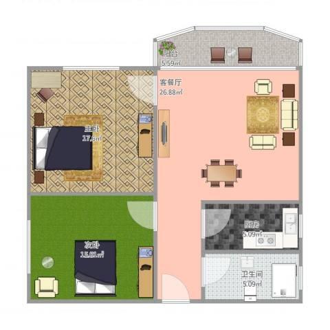 仁恒广场80平2室1厅1卫1厨101.00㎡户型图