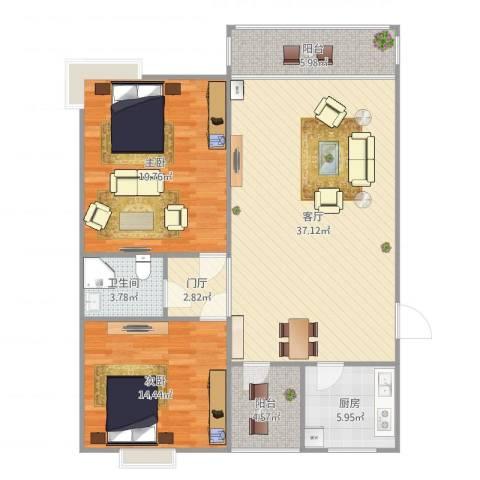 尚东雅园H2室1厅1卫1厨126.00㎡户型图