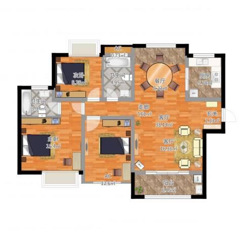 绿地玫瑰城2室1厅2卫1厨138.00㎡户型图