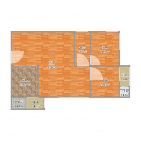 粤荣大厦3室1厅2卫1厨125.00㎡户型图