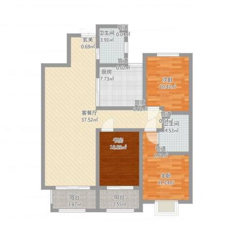 中达・名门世家3室1厅2卫1厨135.00㎡户型图