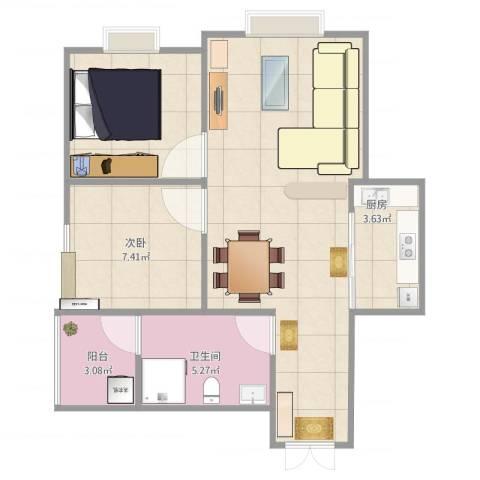鹤林苑2室1厅1卫1厨67.00㎡户型图