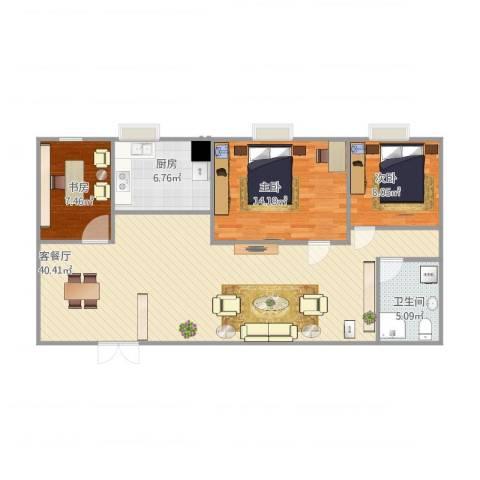 兴业中心(杏林兴业银行大厦)3室1厅1卫1厨110.00㎡户型图