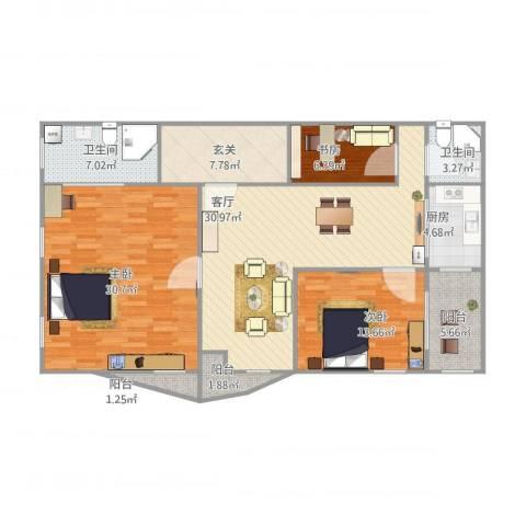 光明大厦-西塔j3室1厅2卫1厨152.00㎡户型图