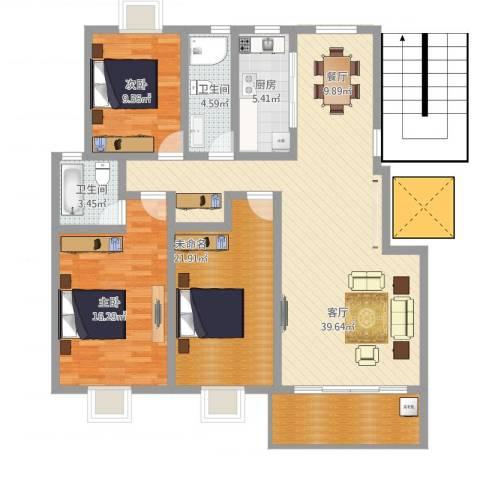 明珠山庄2室1厅2卫1厨145.00㎡户型图