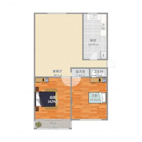 供电小区2室1厅1卫1厨102.00㎡户型图