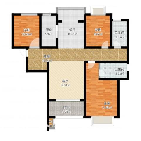 嘉盛维纳阳光3室1厅2卫1厨157.00㎡户型图