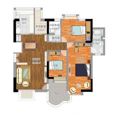 绿中海明苑3室2厅2卫1厨151.00㎡户型图