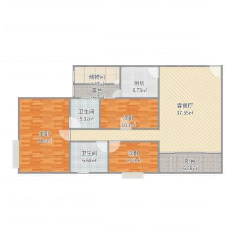 都汇豪庭3室1厅2卫1厨150.00㎡户型图