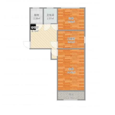 太平桥小区3室1厅1卫1厨62.00㎡户型图