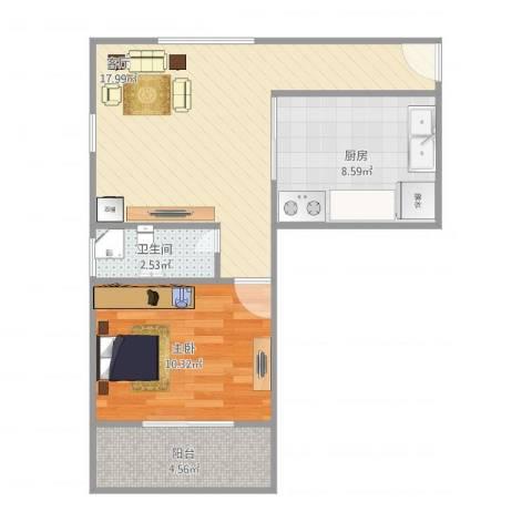 上钢一村1室1厅1卫1厨60.00㎡户型图