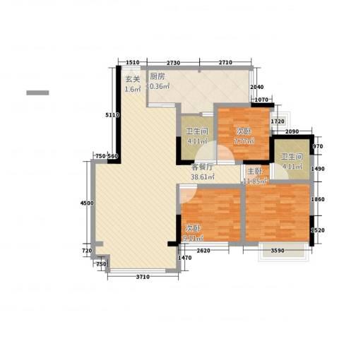 华升・睿尚城3室1厅2卫1厨114.00㎡户型图