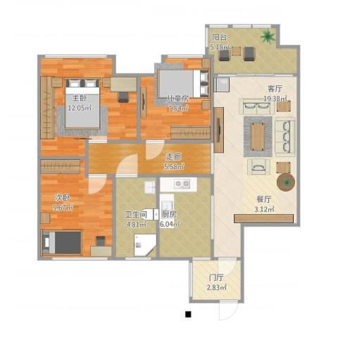 盐城金辉城3室1厅1卫1厨100.00㎡户型图