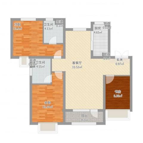 华发九龙湾中心3室1厅2卫1厨125.00㎡户型图