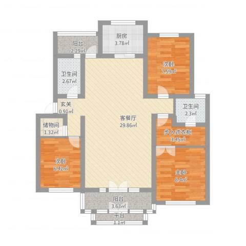 电视机厂宿舍楼3室1厅2卫1厨109.00㎡户型图