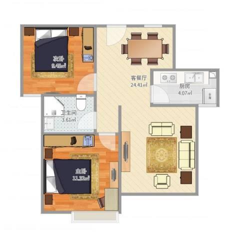 天瑞名城2室1厅1卫1厨72.00㎡户型图