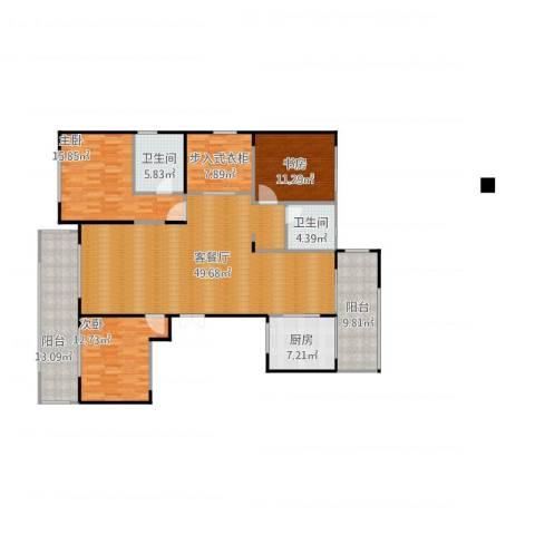 绿城玫瑰园3室1厅2卫1厨184.00㎡户型图