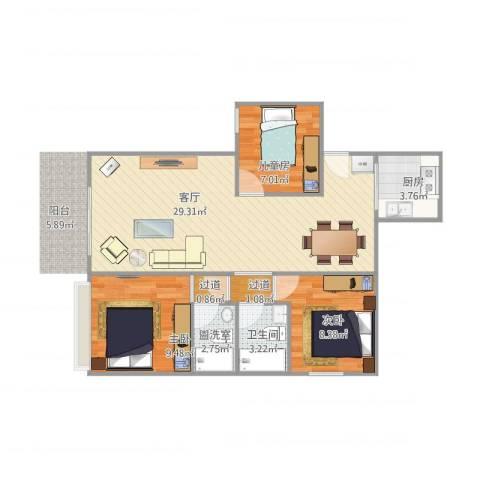 元芬金园大厦3室2厅2卫2厨89.00㎡户型图