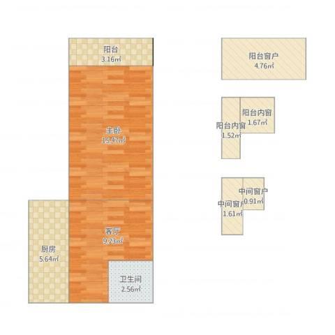 南三环中路15号院1室1厅1卫1厨59.00㎡户型图