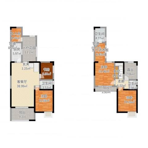 旌城一品4室1厅3卫1厨223.00㎡户型图