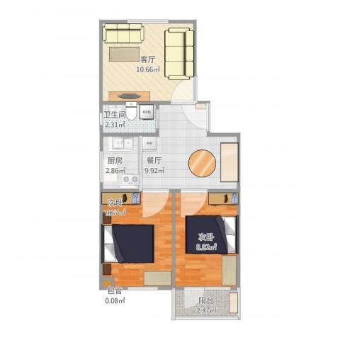 白纸坊25号院2室2厅1卫1厨64.00㎡户型图