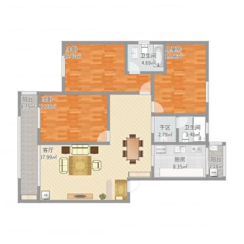 嘉定人民小区3室1厅3卫1厨164.00㎡户型图