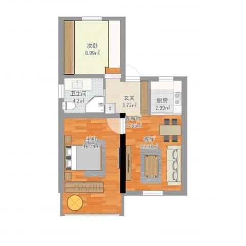 国定路600弄小区2室1厅1卫1厨69.00㎡户型图