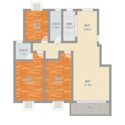 明珠山庄3室1厅2卫1厨136.00㎡户型图