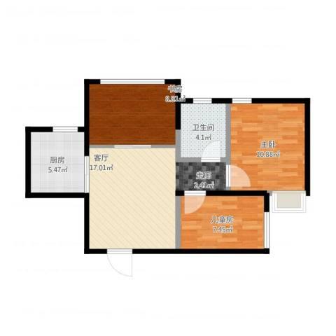 蜜橙3室1厅1卫1厨76.00㎡户型图