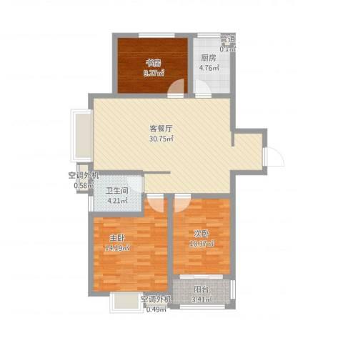 安泰未来城3室1厅1卫1厨113.00㎡户型图