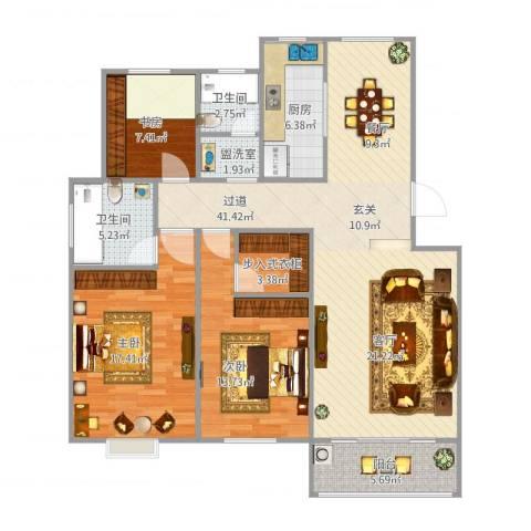 南环花苑3室1厅2卫1厨142.00㎡户型图
