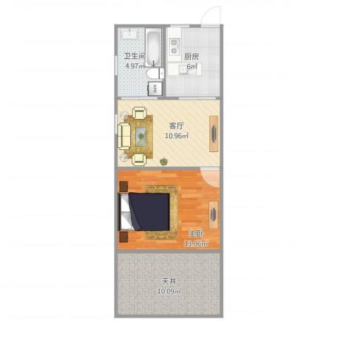 泗东新村1室1厅1卫1厨61.00㎡户型图